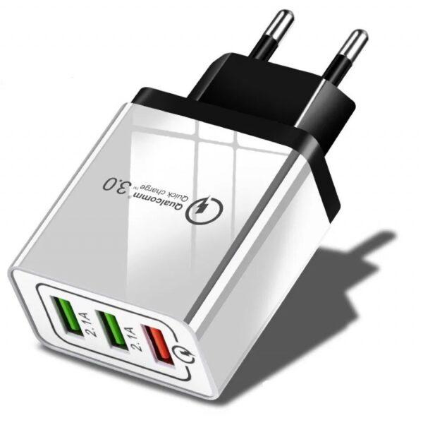 ADAPTER ŁADOWARKA SIECIOWA 3QC 3 USB TURBO