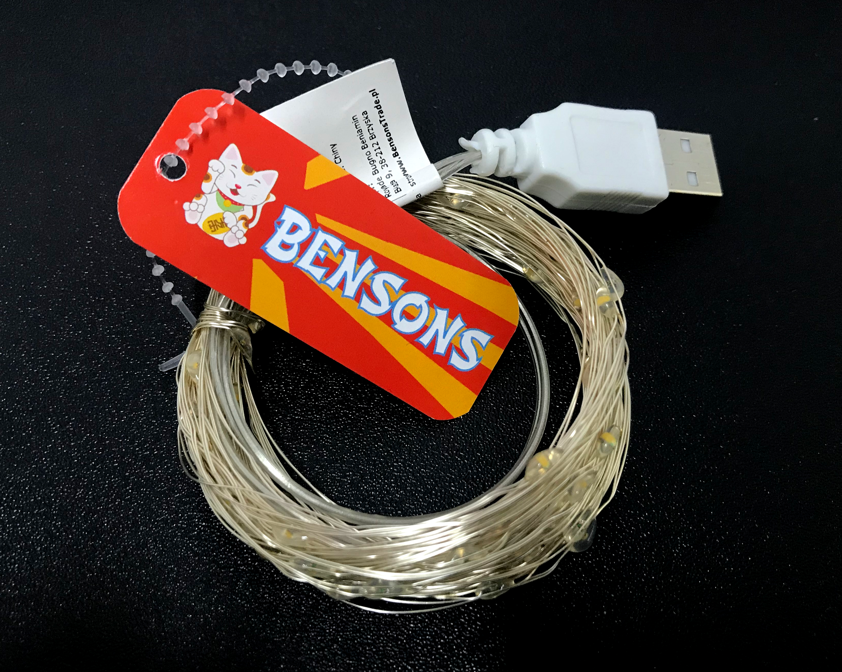 BENSONS LAMPKI DRUCIK 100 LED 10M USB BIAŁY CIEPŁY